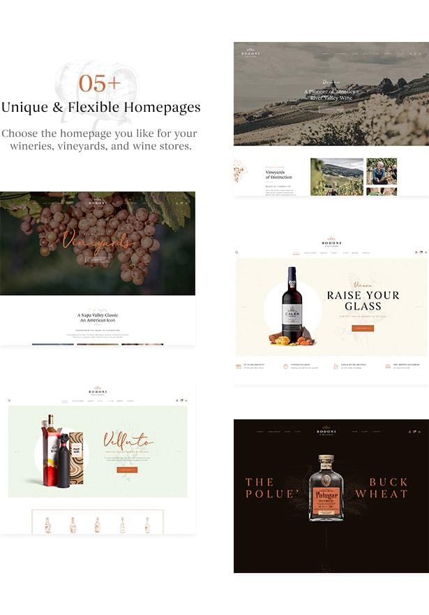 Bodoni - Wine Shop & Vineyard WordPress Theme - Stunning Premade Wine Homepage Websites