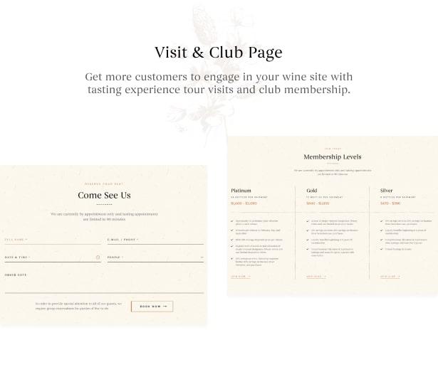 Bodoni - Wine Shop & Vineyard WordPress Theme - Wine Visit & Club Page<