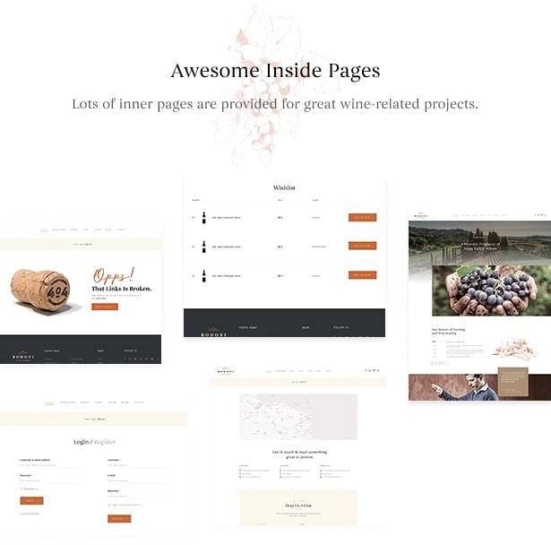 Bodoni - Wine Shop & Vineyard WordPress Theme - Functional Pages