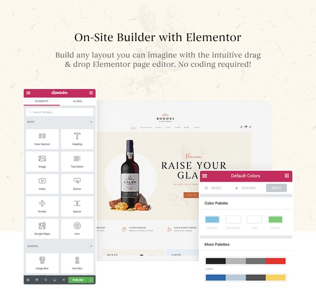 Bodoni - Wine Shop & Vineyard Elementor WordPress Theme - On-site Page Builder Elementor