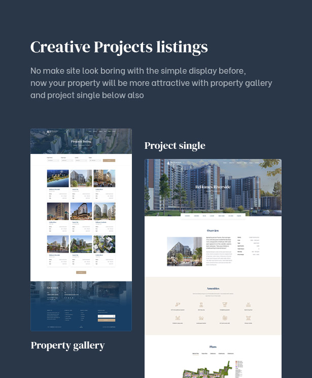 Project listings available in the luxury real estate WordPress theme