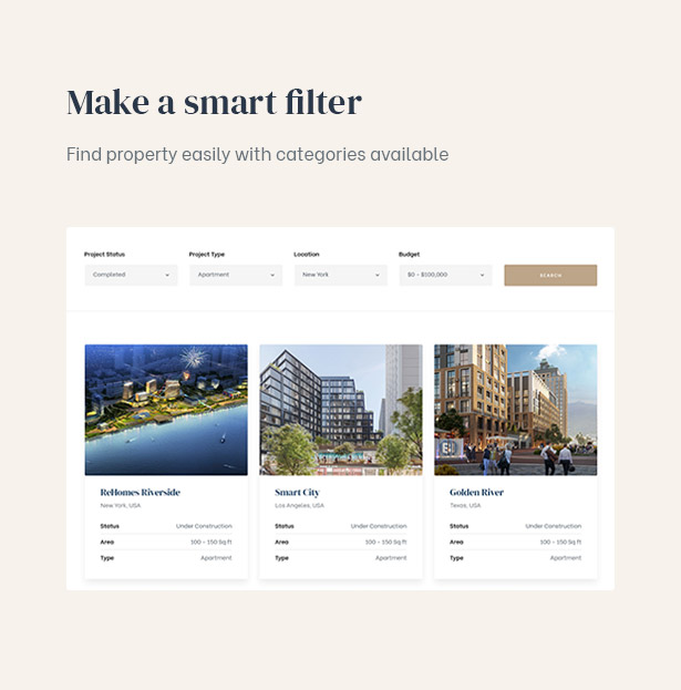 Filtering properties with some clicks with the smart filter in the real estate theme