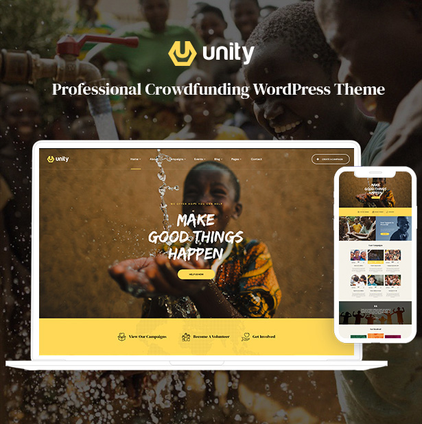 Unity is a stylish all-in-one charity & crowdfunding