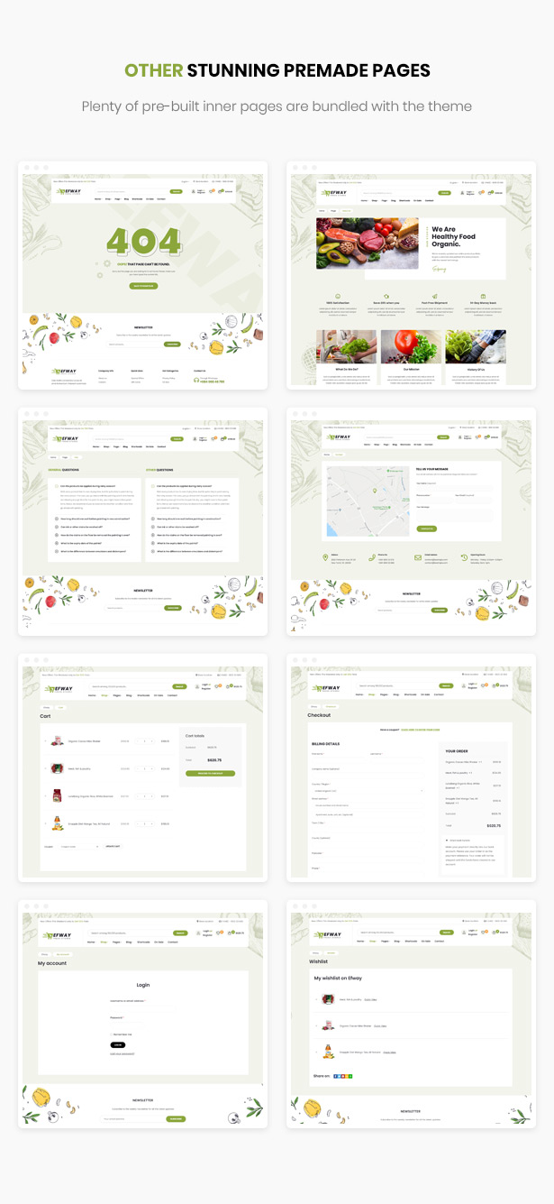 Efway Food Store WordPress Theme - Ready-to-use Inner Pages