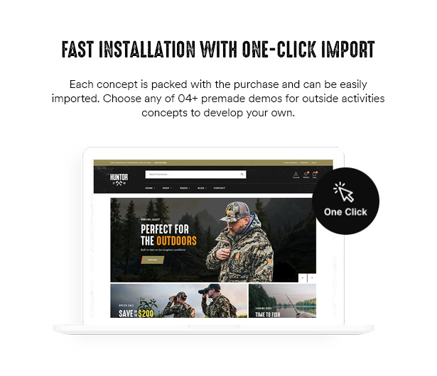Huntor Hunting Outdoor Shop WooCommerce Theme 1 click installation