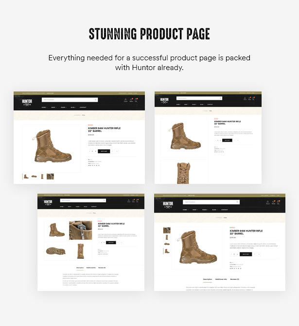 Huntor Outdoor WooCommerce Theme - Stunning Product Pages